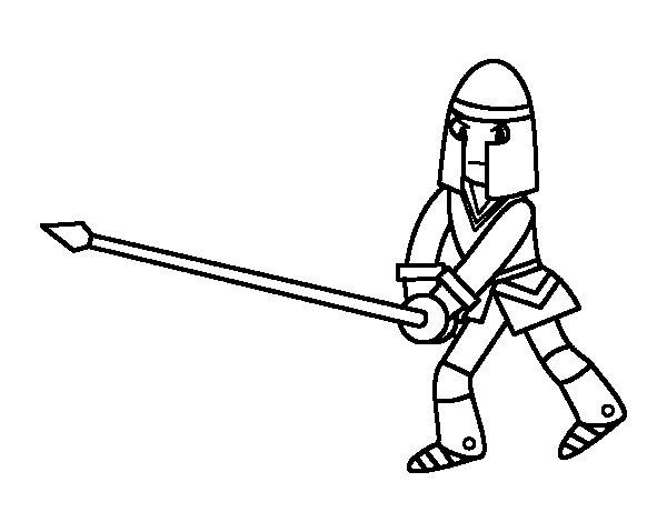 Dibuix de Cavaller amb llança per Pintar on-line
