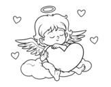 Dibuix de Cupido amb cor per pintar