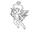 Dibuix de Cupido amb el seu arc màgic per pintar