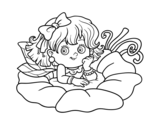 Dibuix de Fada sobre una flor per pintar