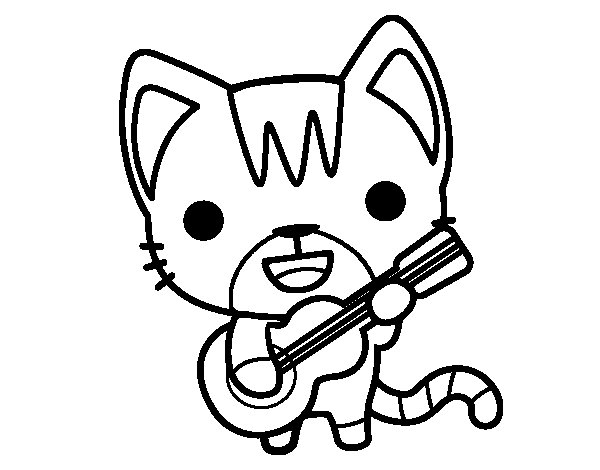 Dibuix de Gat guitarrista per Pintar on-line