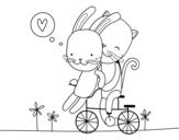 Dibuix de Gatet i Conillet enamorats per pintar