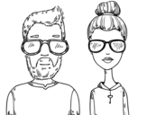Dibuix de Hipsters per pintar