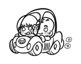 Dibuix de Nens conduint per pintar