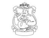 Dibuix de Policia amb rosquilla per pintar