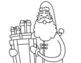 Dibuix de Santa claus amb regals per pintar
