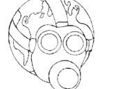 Dibuix de Terra amb màscara de gas per pintar