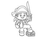 Dibuix de Un nen pirata per pintar