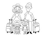 Dibuix de Una família de vacances per pintar