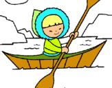 Dibuix Canoa esquimal pintat per BERTA GUELL