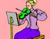 Dibuix Dama violinista pintat per anna llacuna puig