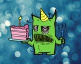 Monstre amb pastís d'aniversari