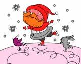 Santa Claus patinant
